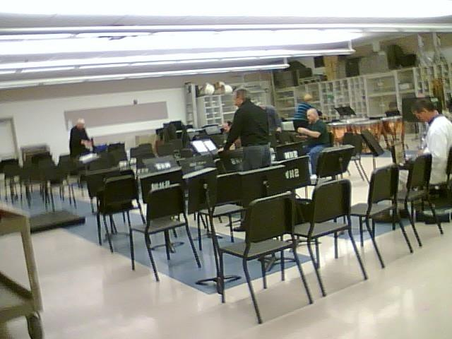 The band room. Getting ready for rehearsal