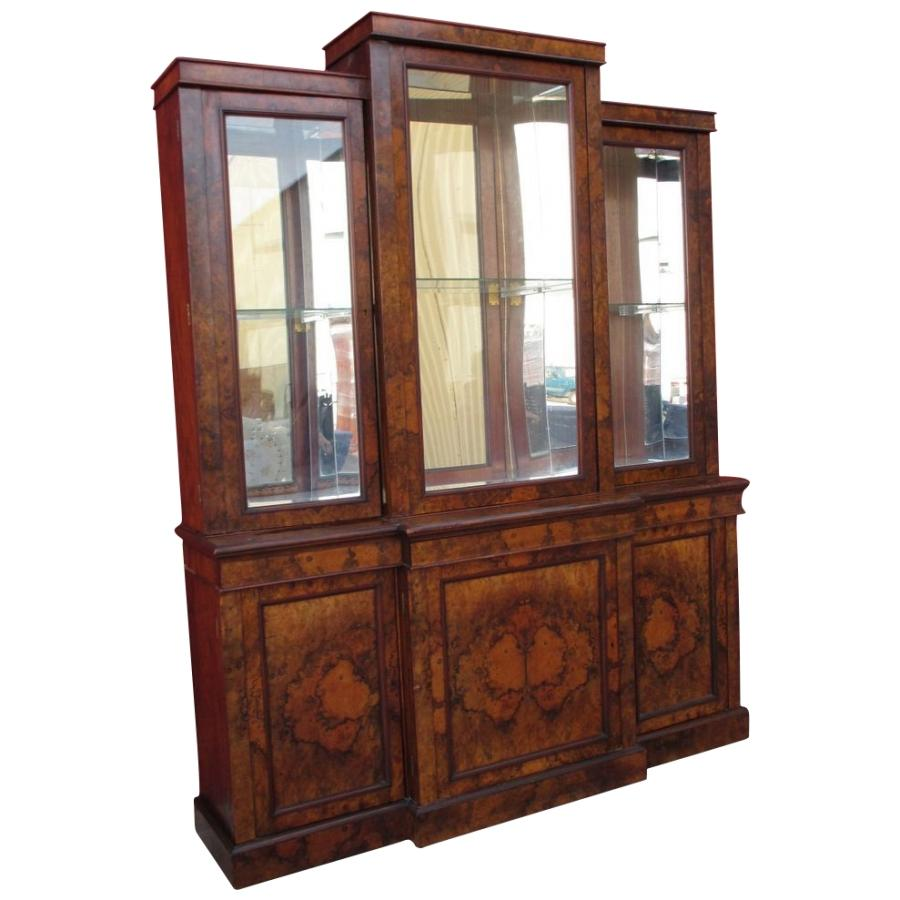 English Antique Walnut Breakfront Bookcase Antique China Cabinet