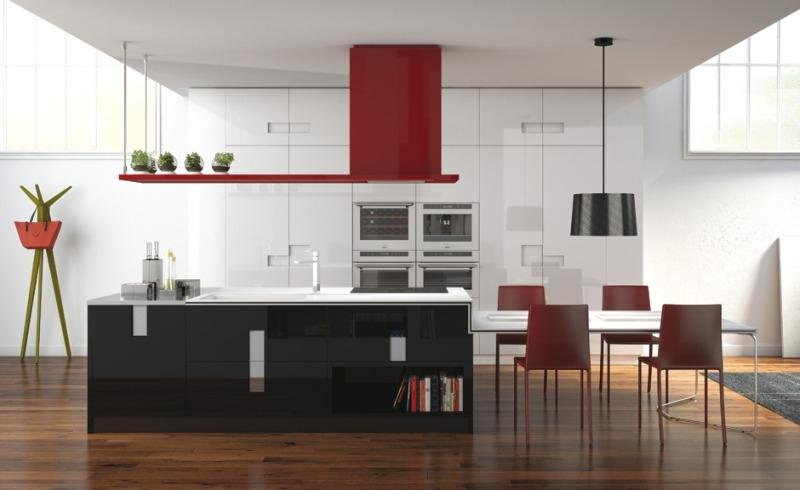 Carre - Modern Kitchen Color White, Black, Red