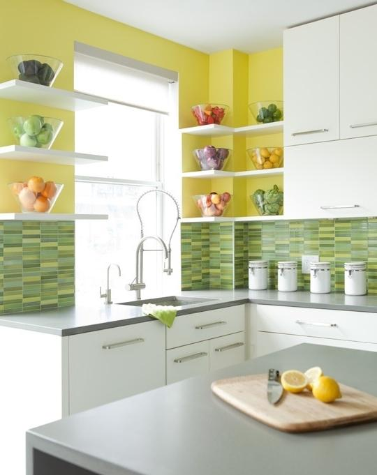 Cheerful summer interiors green yellow kitchen designs for Yellow green kitchen ideas