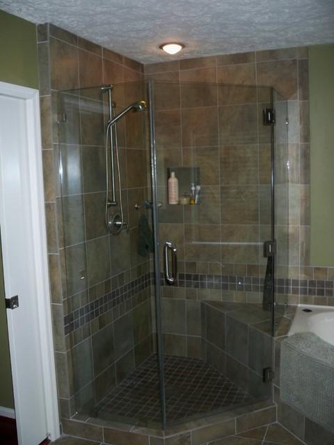 Corner shower tile photo