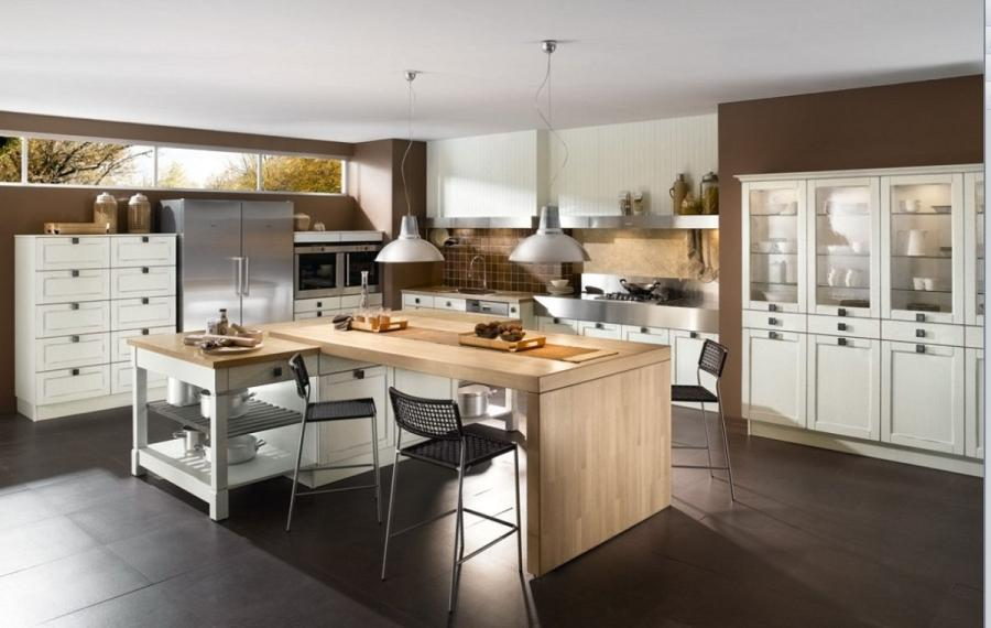 Soft Classic Dining Room And Kitchen In Ultramodern Apartment...