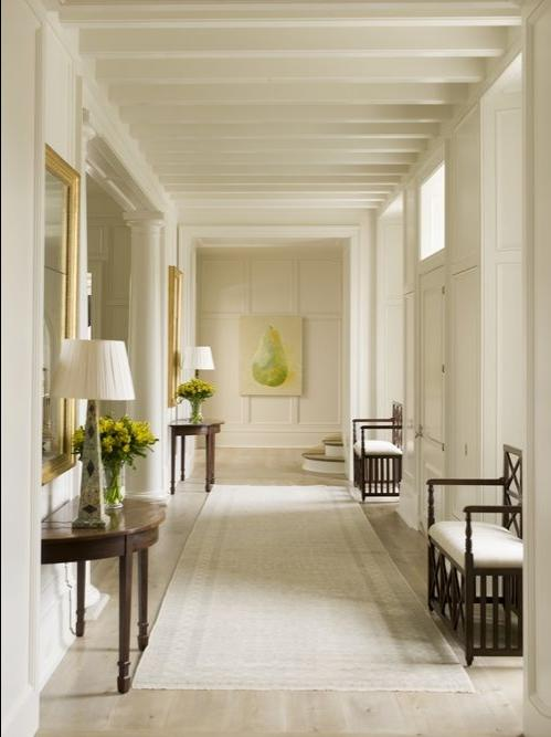 A long wide hallway looks beautiful with the addition of a soft...