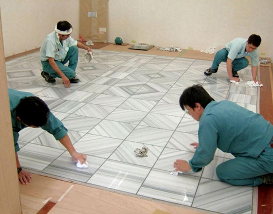 marble floor tile installation