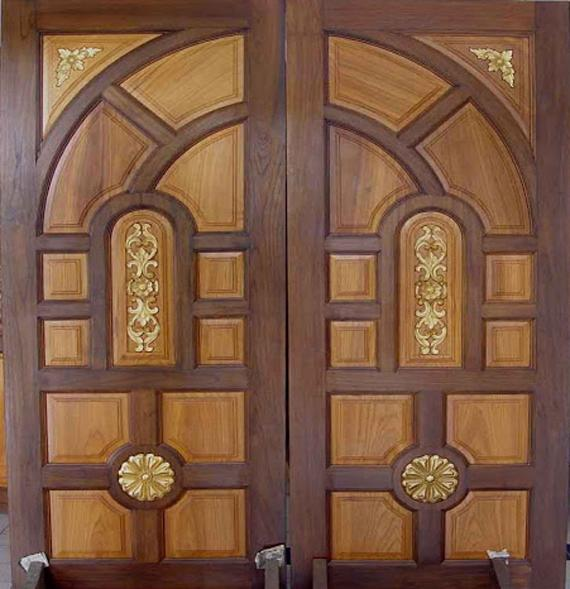 Front door design photos kerala houses for Front double door designs