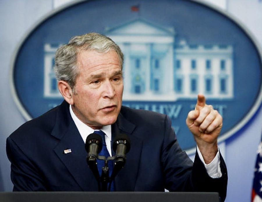 Edmonds/AP George W. Bush speaks during a news conference in the...