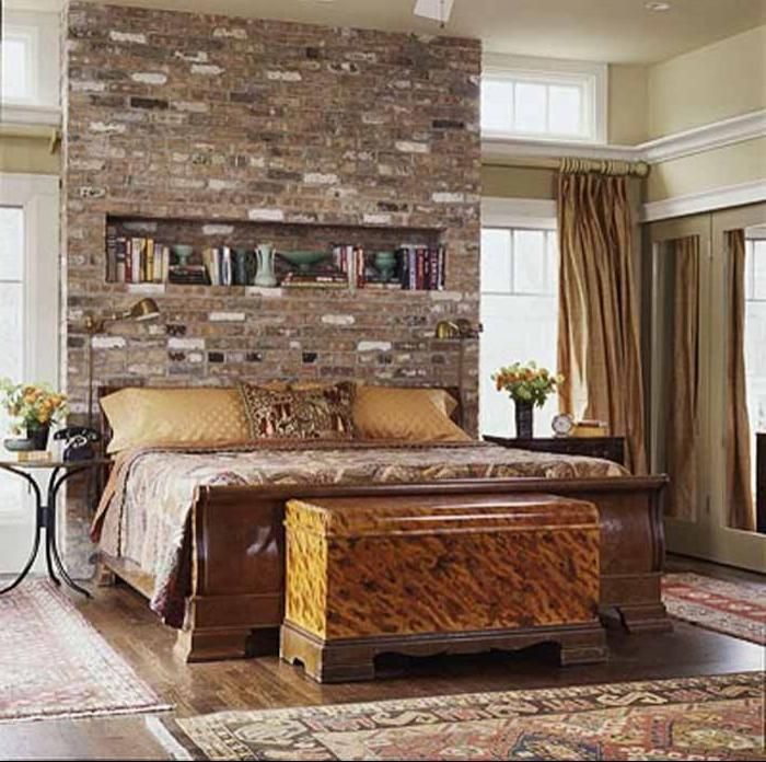 ... classic bed room design with brick wall ...