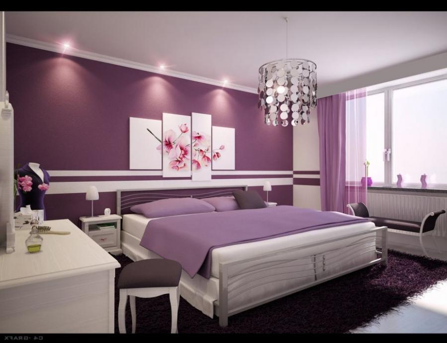 Astonishing Home Design Bedroom with Purple Color and Chandelier