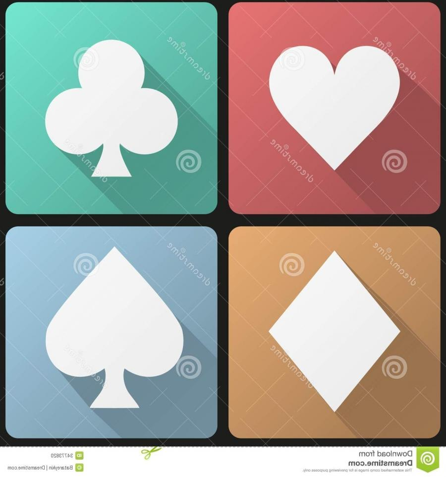 Flat icon set playing cards suit
