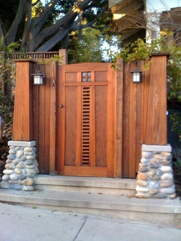 Craftsman style gate and lights.