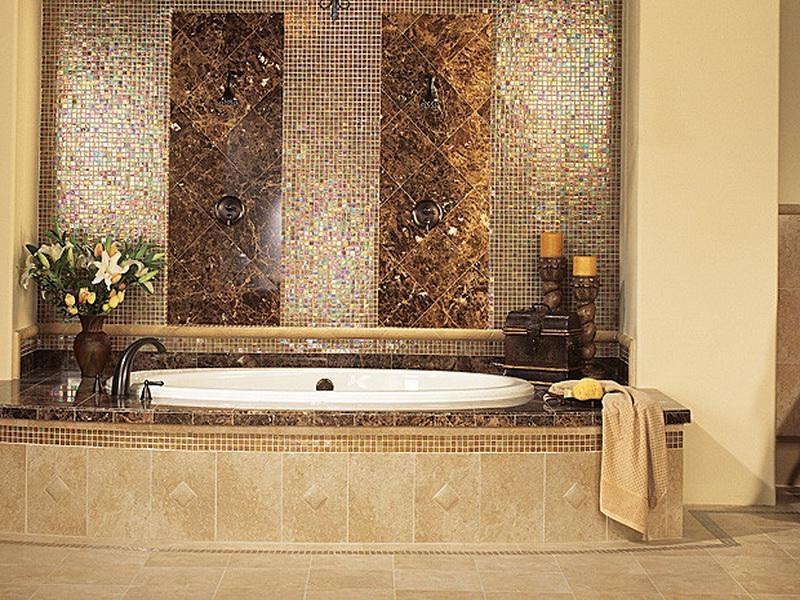 Simple  Tile Backsplash  Bath Design Ideas  Modern Bathroom  Mosaic Tile
