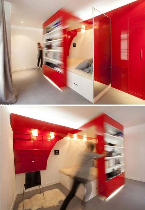 Push the shelves to the right and the bedroom opens up. Need to...