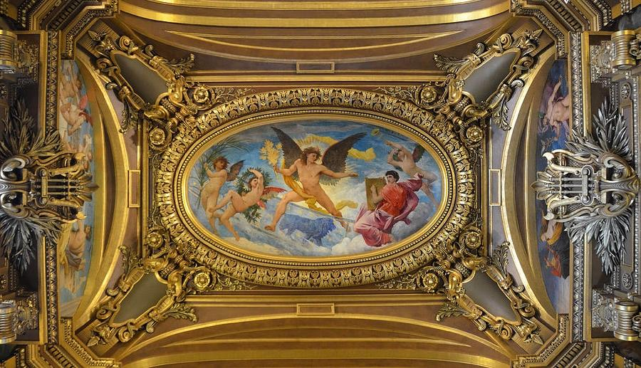 Ceiling Painting By Paul Baudry In The Grand Foyer Of The Paris...