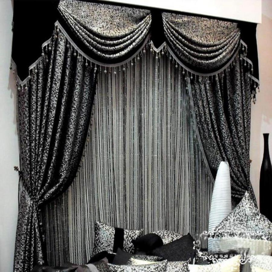 living room, Black Color Curtain Design For Contemporary Living...