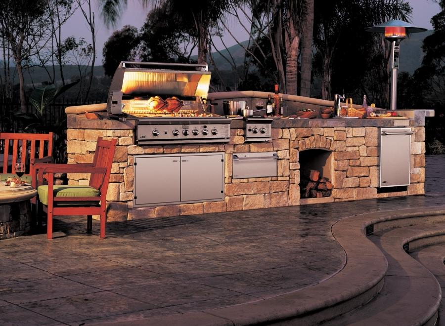 Custom Summerset Barbecue Island Outdoor Kitchen Area