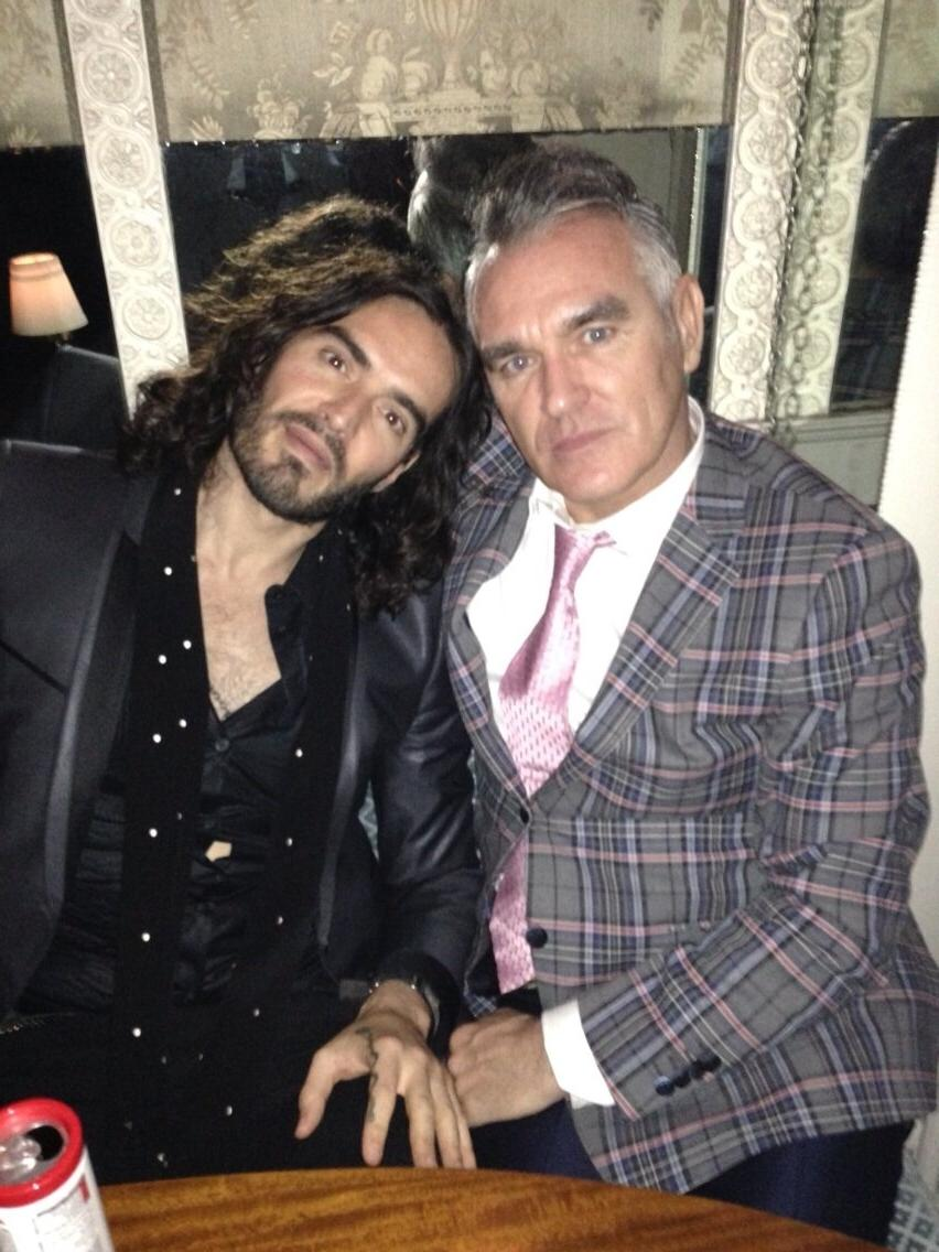 Russell brand tweeted this picture of himself and Morrissey.