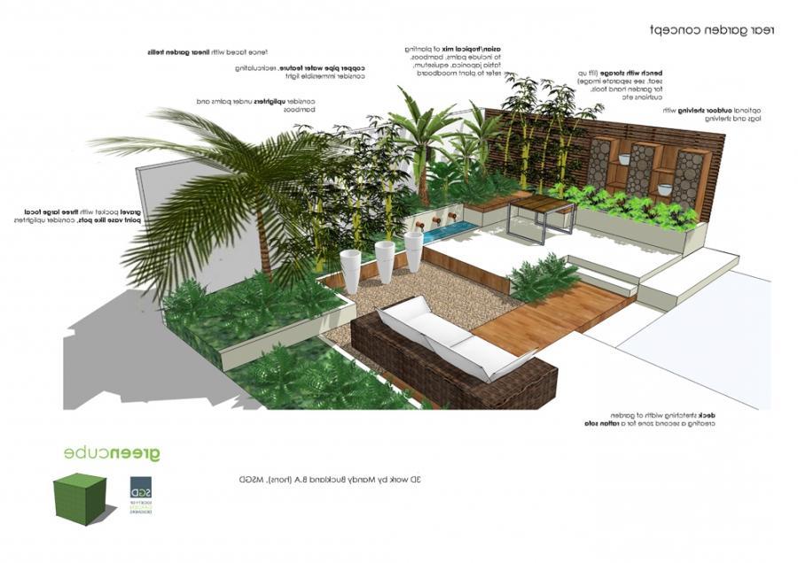 Tropical garden courtyard photos