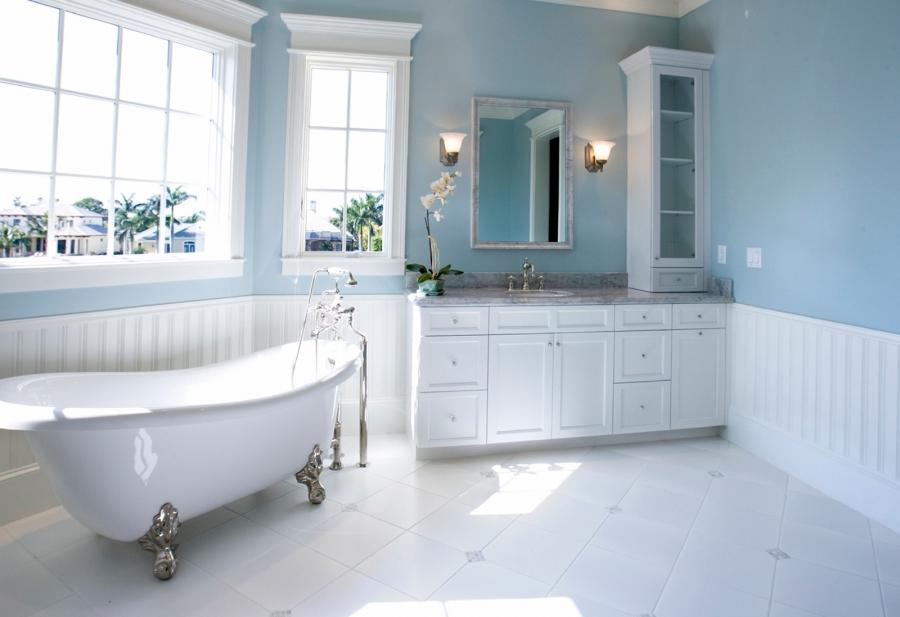 Clean White Modern Bathroom Design With Glass Roof : Home Design...