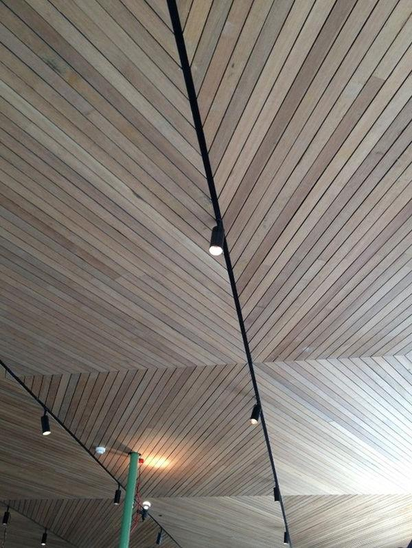 Herringbone is a classic look anywhere, and the ceiling is no...