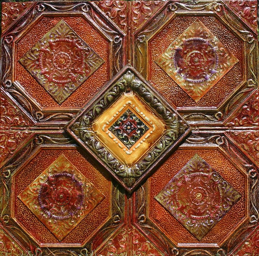 Antique Tin Ceiling Tiles Art - 4x4 Antique Tin Ceiling Tiles 4...