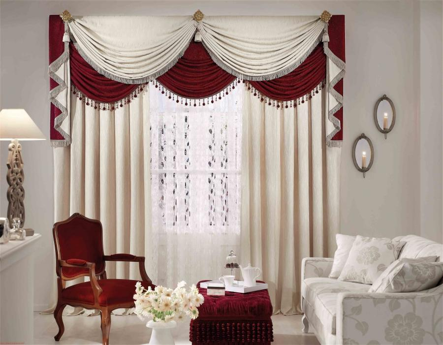 Windows Curtains Living Room Design Luxury Red White Vase Table...