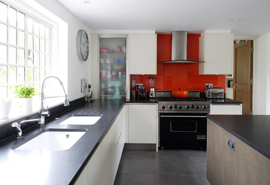 black and white kitchen ideas with red tile kitchen backsplash