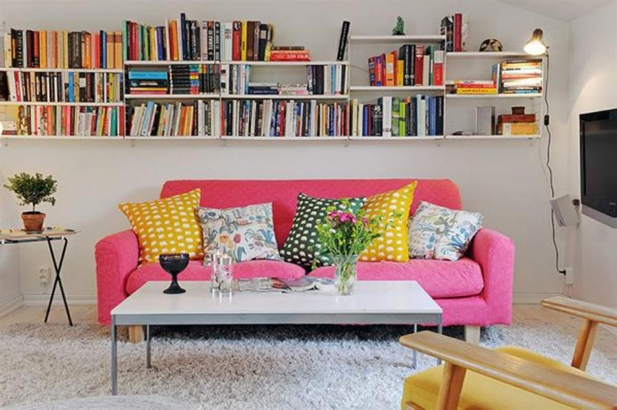 Contemporary Colorful Shabby-Chic Small Apartment Living Room...