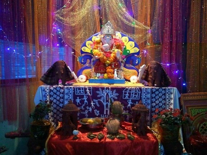 Ganpati Decoration Home Photo