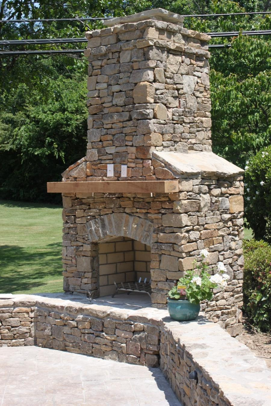 stone outdoor fireplace photos