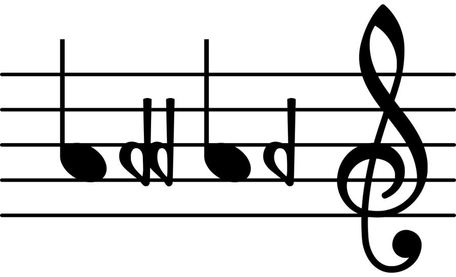 The notes A flat and A double flat on the treble clef.