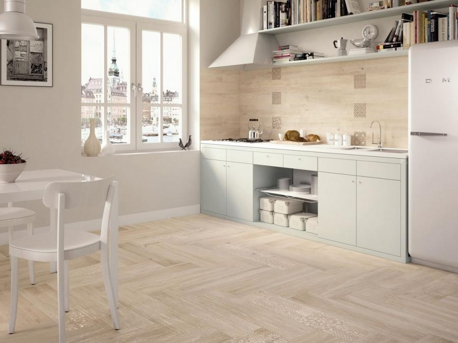 light wooden tiled kitchen splashback and floor wood floor tiles...