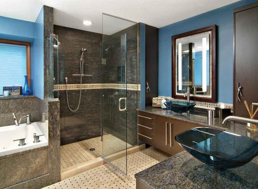 Brown Blue Bathroom Photos