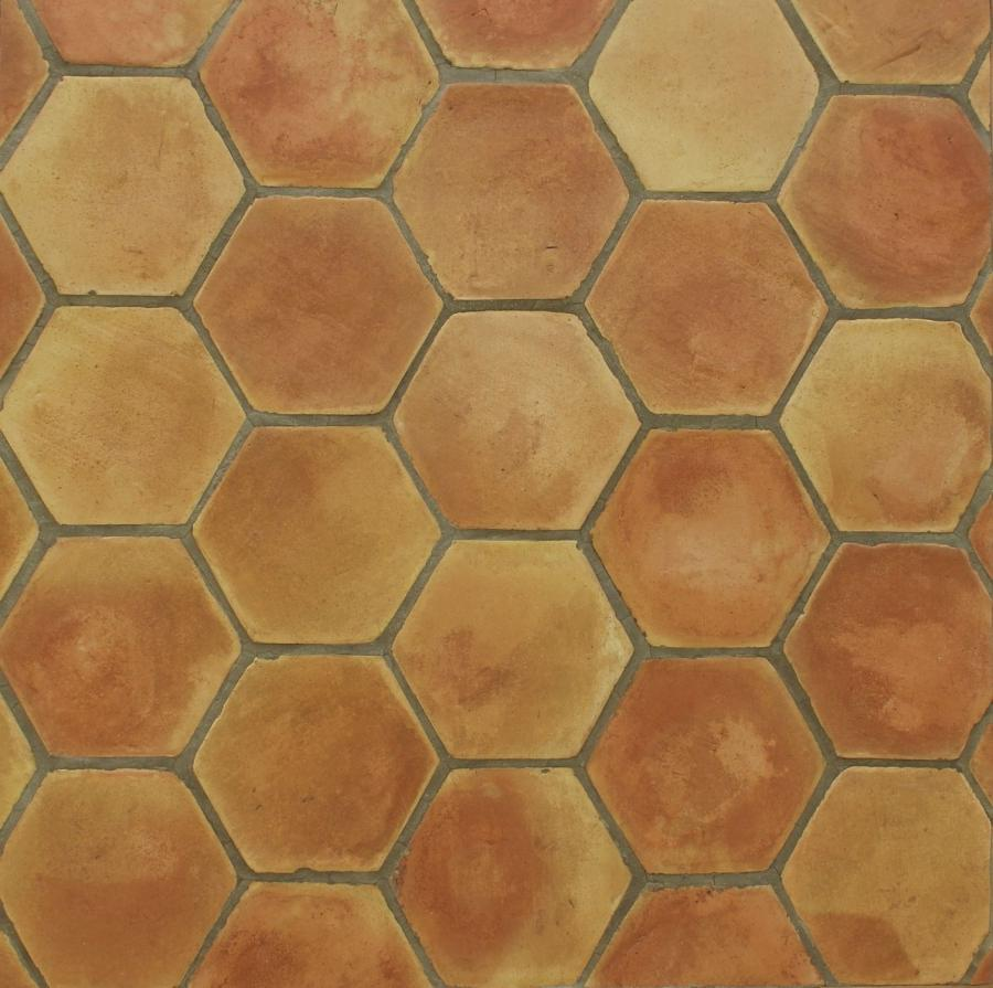 Floor tile / terracotta / rustic look - HEXAGONAL