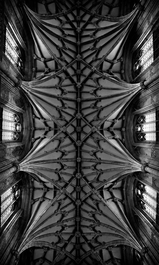 Heavenward -- Winchester Cathedral Ceiling In Black And White...
