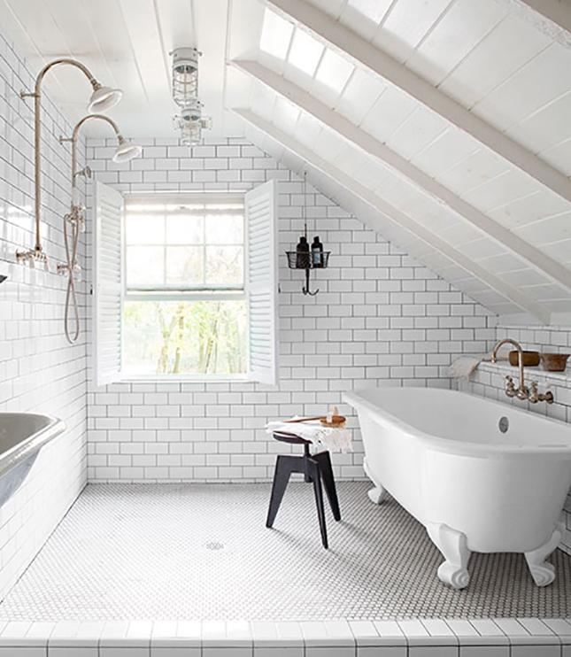 White on White Attic Bathroom: We canu0026#39;t get over the dual...