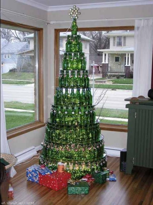 Grolsh bottle christmas tree 15 Beer and Wine Inspired DIY...