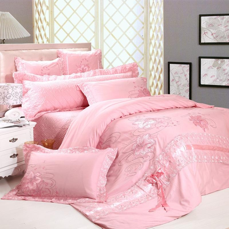 12-free shipping Piece bedding set red cotton 100% married Pink...