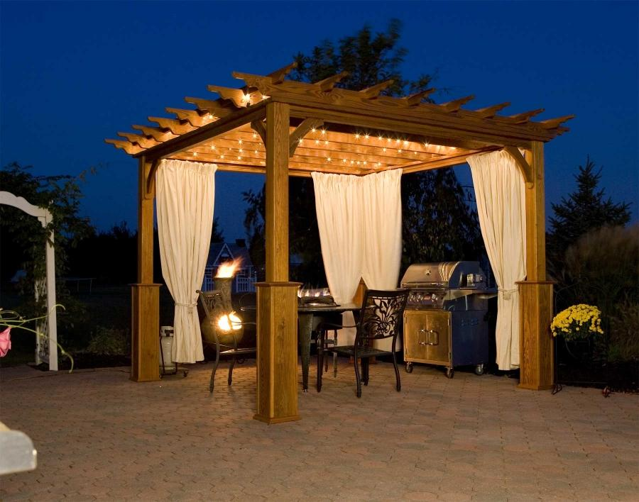 Wooden Design For Open Top Pergola With White Curtain Decor And...