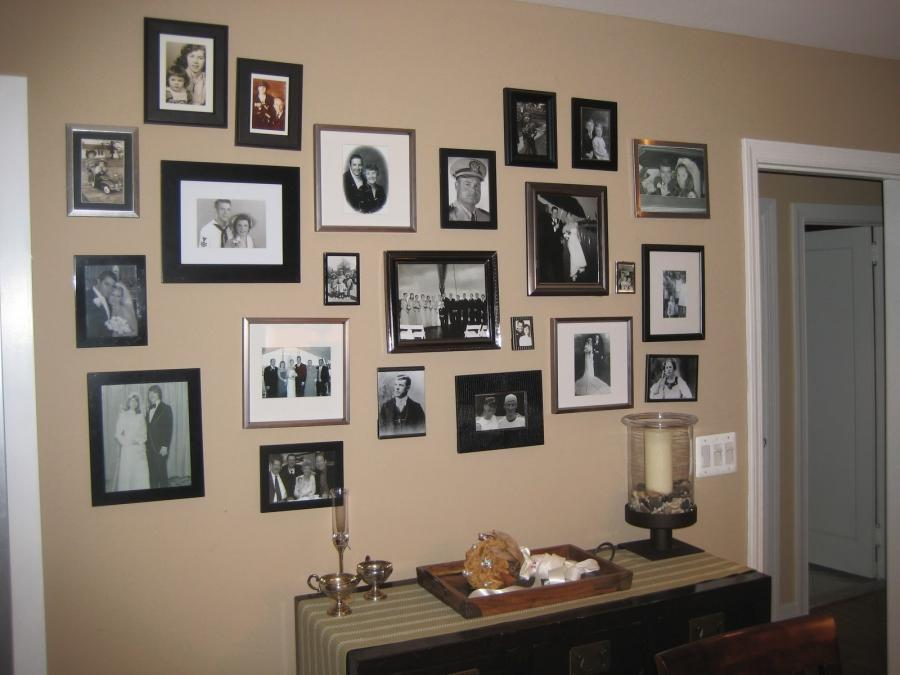 ... stunning hallway with chic hanging family photo with nice...