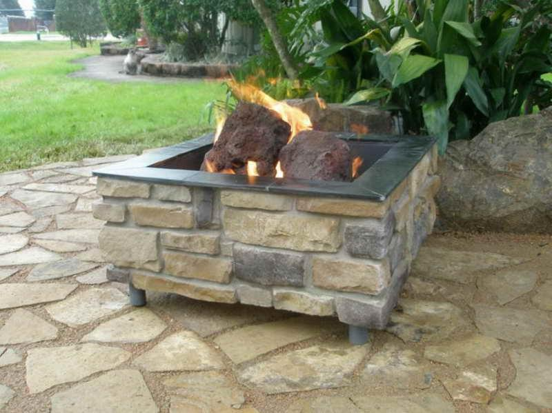 The Choice of Outdoor Fire Pit Kits with stones flames