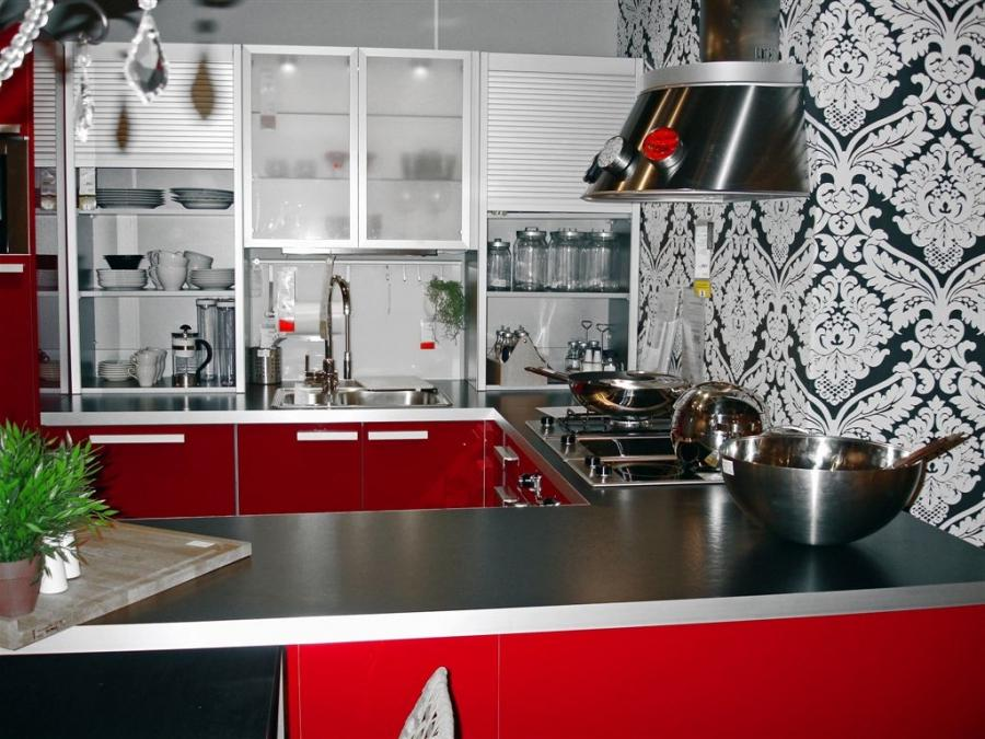 11 Fancy Black And Red Kitchen Decorations : Modern UShaped Black...