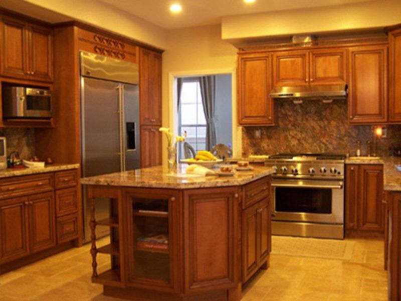 Kitchen cabinets with granite countertops honey maple kitchen cabinets