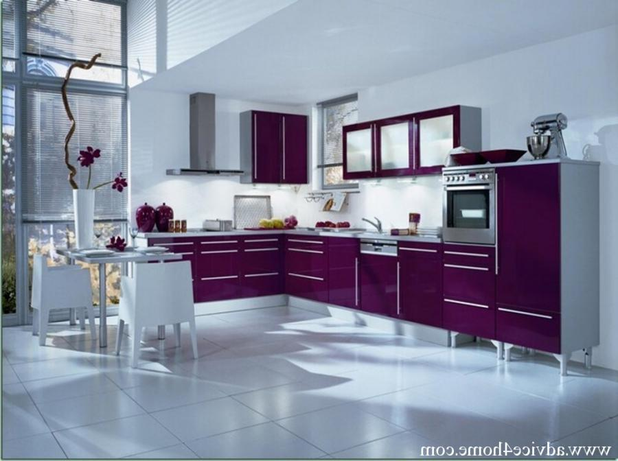 Modern White Wall And Purple Modular Kitchen Design