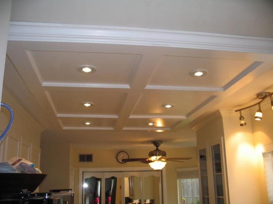 Custom Coffered Kitchen Ceiling w/ Spotlights