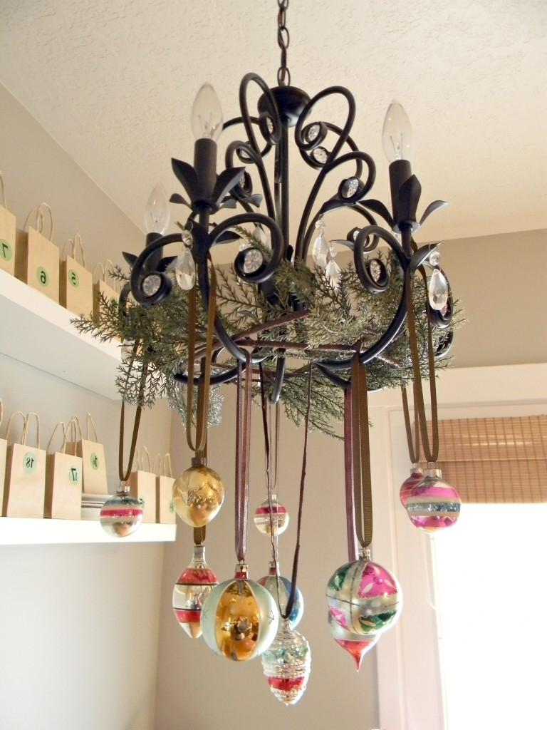 Christmas chandelier photo for Hanging ornaments from chandelier