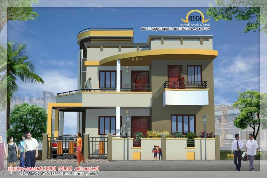Duplex house plans elevation photos indian style for South indian duplex house plans with elevation free