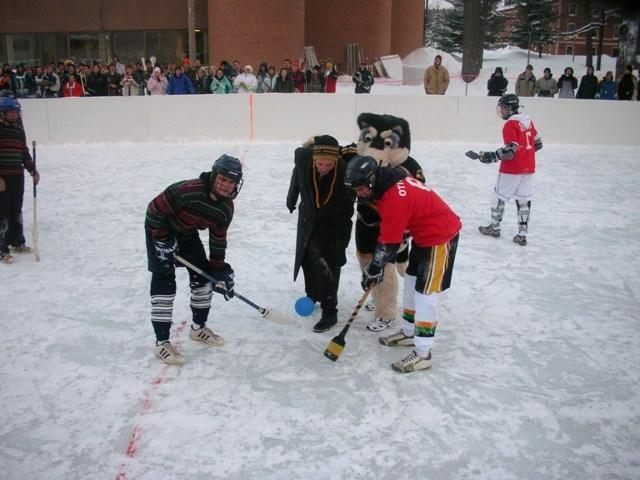Winter means broomball at Michigan Technological University.