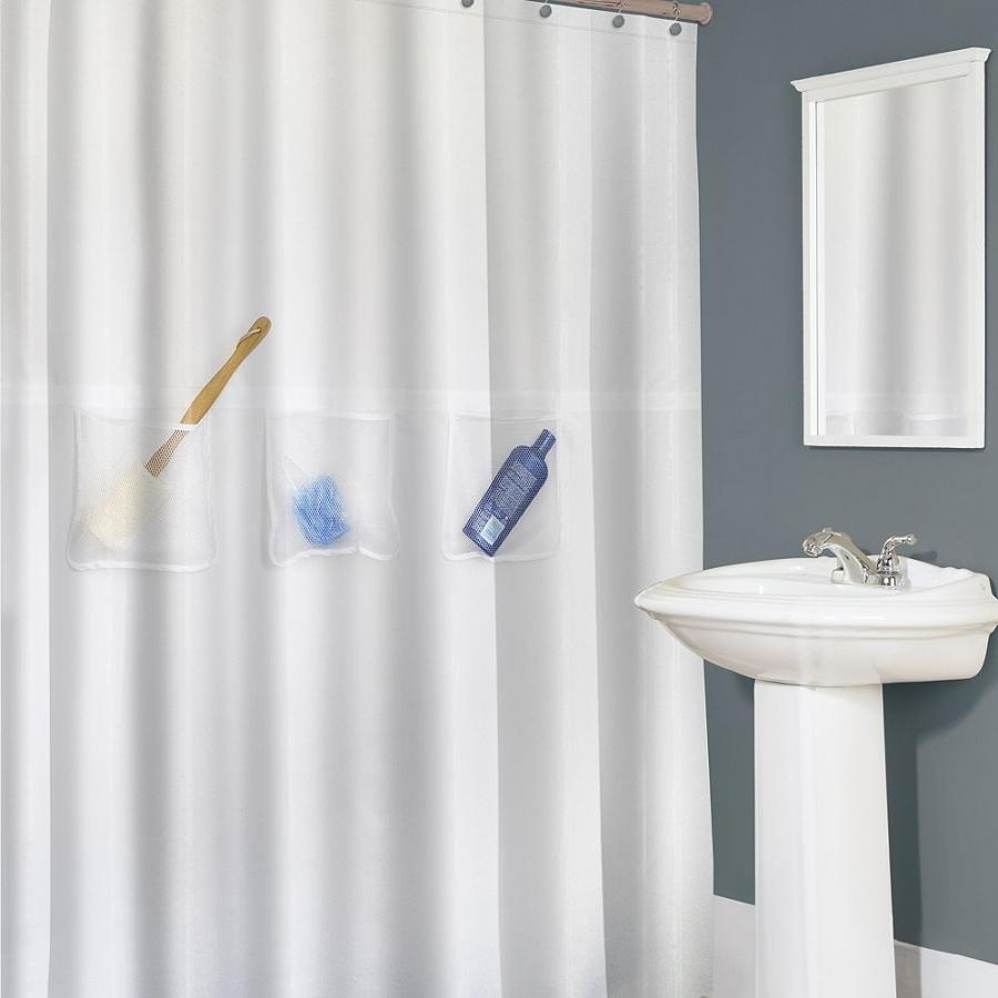 Easy Pocket Fabric Shower Curtain Liner With Mesh Pockets
