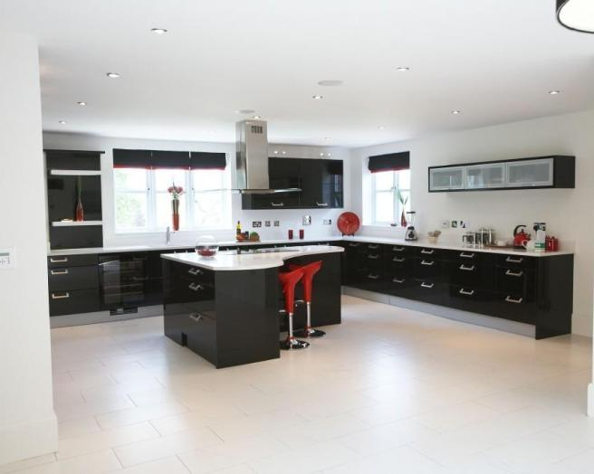 photo of colour contemporary open plan black red white kitchen...