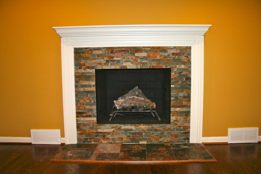 ... diy stacked stone fireplace